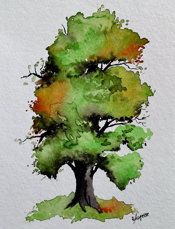 Pintura acuarela originalUn árbol muy bonito por pinetreeart