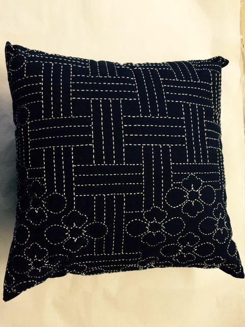 One World Fabrics: Shop   Category: Sashiko Supplies and Patterns   Product: Lotus Blossom Sashiko Pillow Kit
