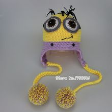 Bella Occhi Cappello Del Bambino Handmade Crochet il Bambino Appena Nato Cattivissimo Me Cappello Neonato cappello Del Bambino Cappello Minion per Puntelli Foto(China (Mainland))
