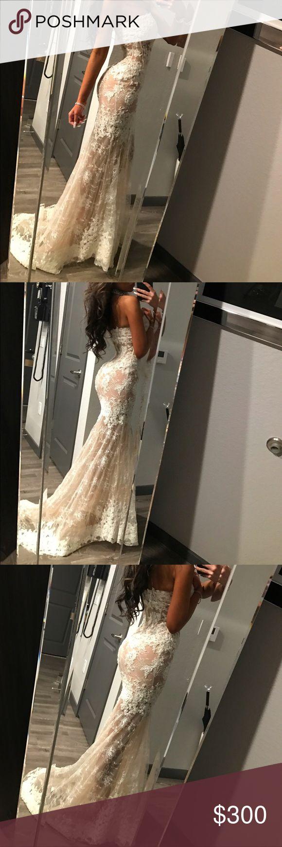 sherri hill white and nude lace sherri hill white lace and nude worn once could be worn as a wedding dress or a reception Sherri Hill Dresses