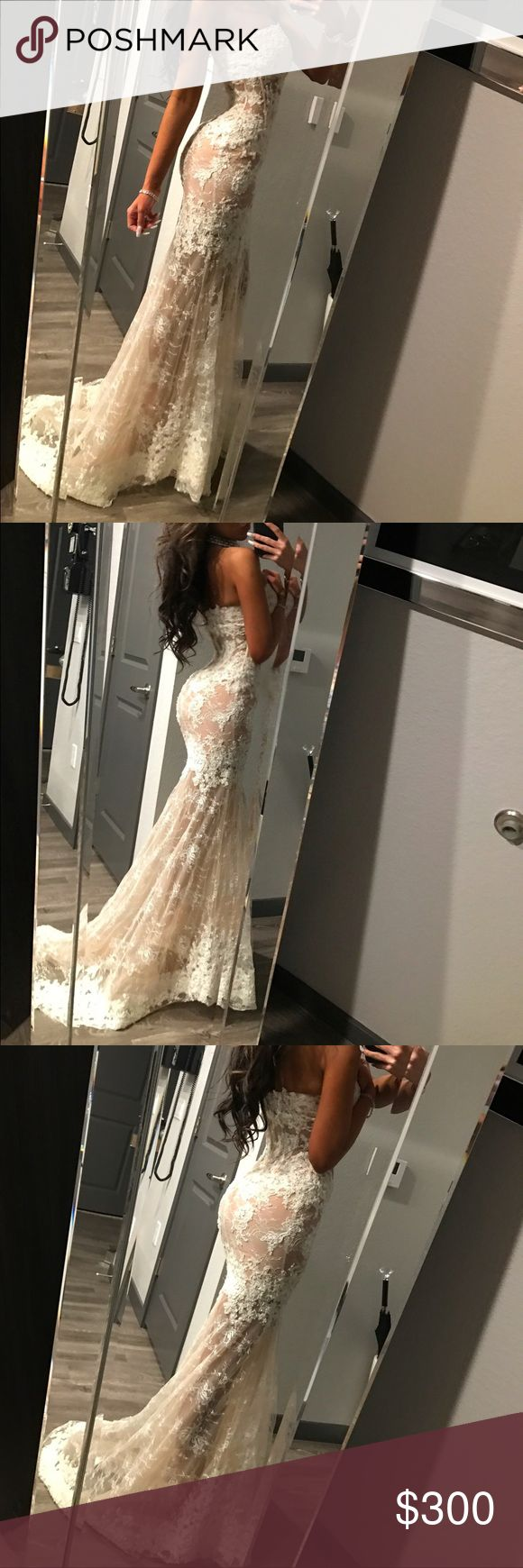 sherri hill white and nude lace sherri hill white lace and nude worn once could be worn as a wedding dress or a reception Sherri Hill Dresses