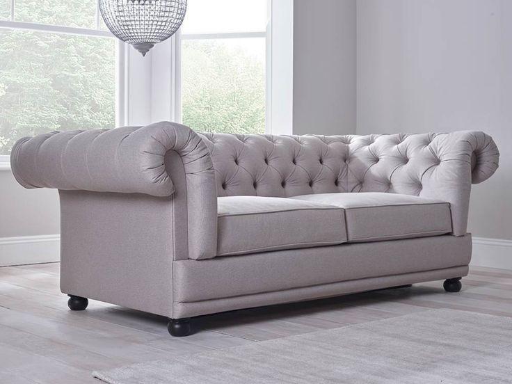 Cara Double Sofa Bed In Grey   A Chesterfield By Day And Comfortable Sofa  Bed By