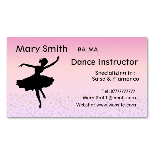 295 best dance instructor business cards images on for Dance business cards