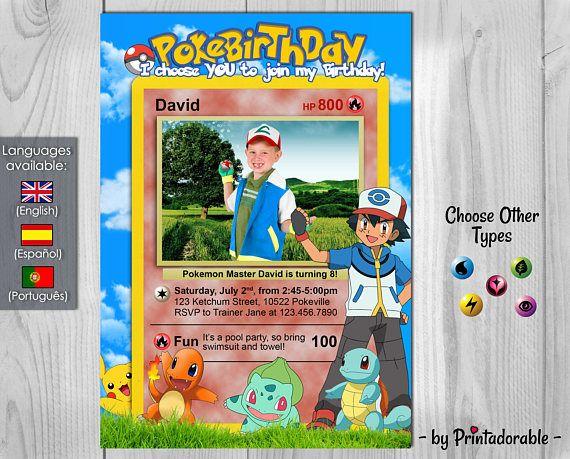 Pokemon Invitation  Pokemon Birthday Party  Pokebirthday