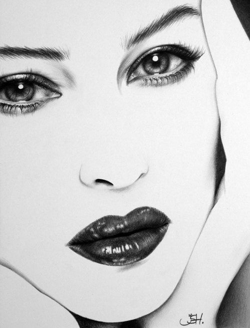 Monica Bellucci Original Pencil Drawing Minimalism Fine Art Portrait Glamour Beauty