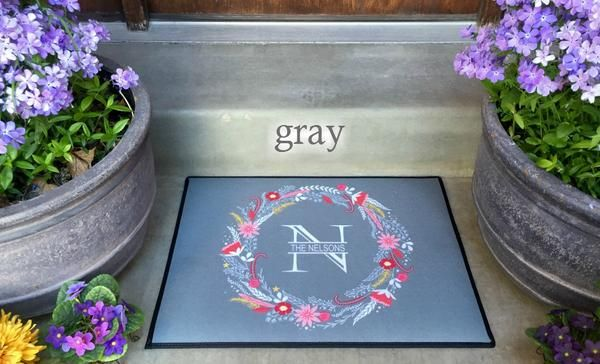 Personalized Medium Door Mats - Floral Wreath Design