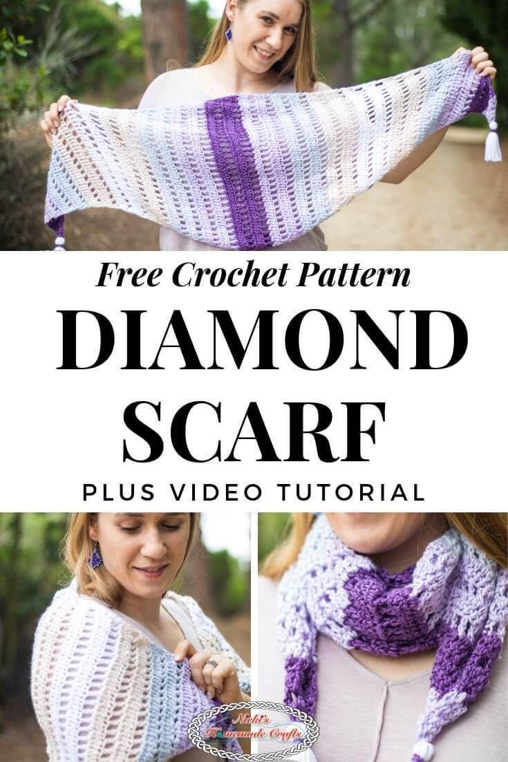Diamond Scarf Free Crochet Pattern Caron X Pantone Bamboo Yarn