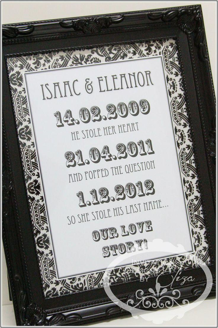 Love Date Frame {First Wedding Anniversary} Black & White Theme www.facebook.com/InvitationDesignsByEliza
