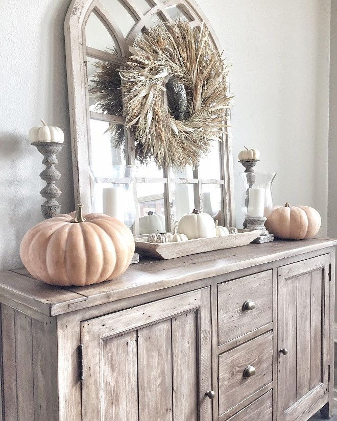 Fall Thanksgiving Decor   Neutral Autumn Fall Decor, Thanksgiving Vignette,  White And Wood,. Buffet Table ...