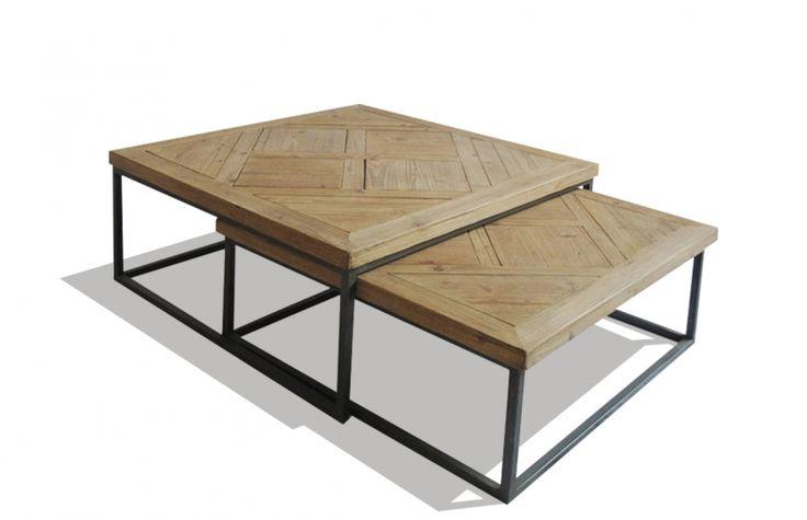 lot de 2 tables basses carr e m tal noir et plateaux en bois de sapin pour un effet marqueterie. Black Bedroom Furniture Sets. Home Design Ideas