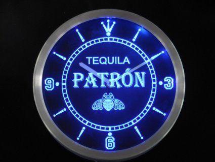 Amazon Com Led Neon Light Wall Clock Patron Tequila Beer