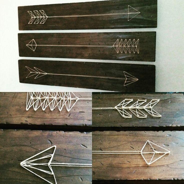 Wood art, arrows, string art