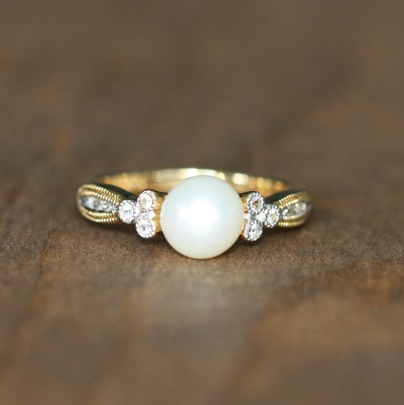 Vintage Inspired Pearl Ring in 14k Yellow by LuxCrown