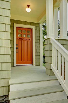 Nice Google Image Result For Http://portlandoregonpainters.com/wp Content/.  Orange Front DoorsOrange ByFront Door ColorsExterior ColorsGreen ...