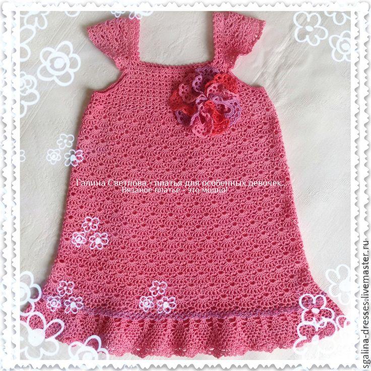 Купить Вязаное детское платье для девочки Малиновый щербет из хлопка - платье для девочки, платье на заказ