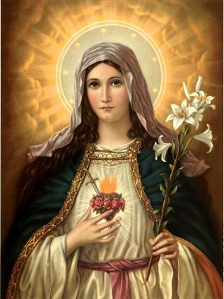 Sacro cuore di Maria / Hati kudus Maria dengan simbol kesucian dan kemartiran