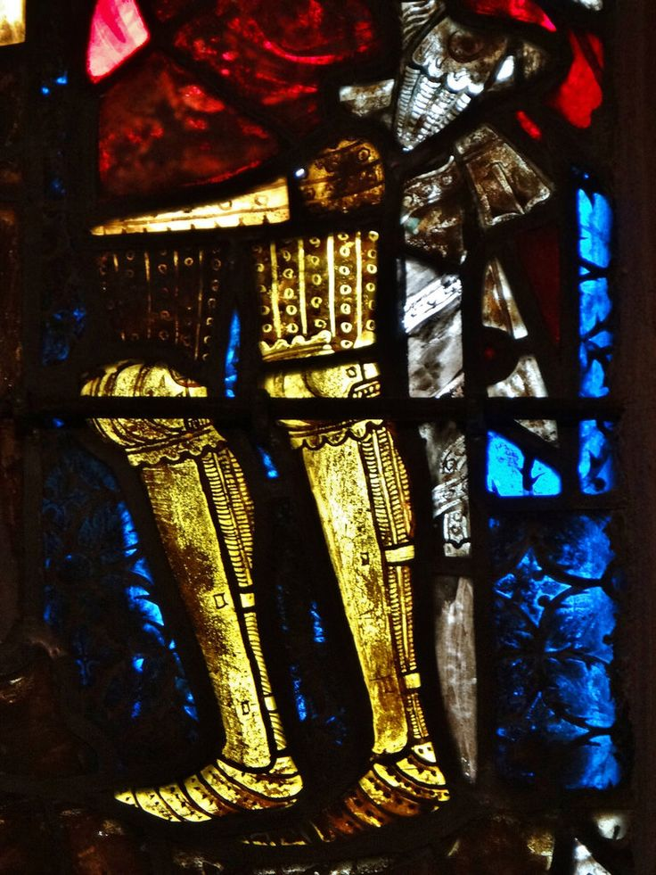 'Crucifixion, scenes from the Passion of Christ', Collégiale Saint-Florent, Niederhaslach, dép. Bas-Rhin, France. 1360~1365. Note the studded cuisses, poleyns with decorational edges, early fullplate sabatons, and greaves worn over mail chausses. Beautiful detail of early 1360s armour.