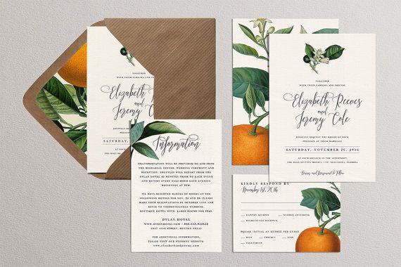 Printable Wedding Invitation DIY Set, Oranges Wedding Suite, Botanical Citrus Invites, Orange Blossom Wedding Kit,Florida California Wedding