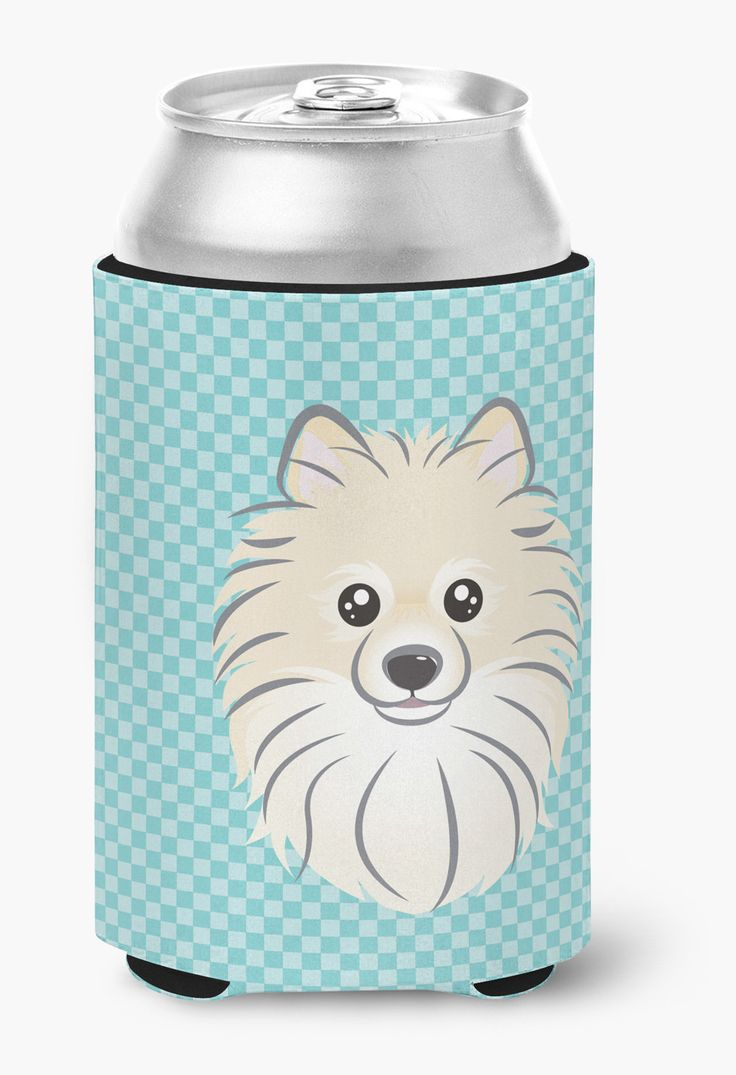Checkerboard Blue Pomeranian Can or Bottle Hugger BB1145CC