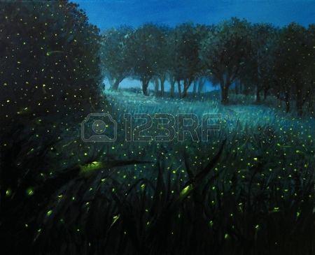Obraz olejny na p tnie o Scena nocy z wietliki i ki le nej wieci w jasnym kolorze niebieskim przez w Zdjęcie Seryjne