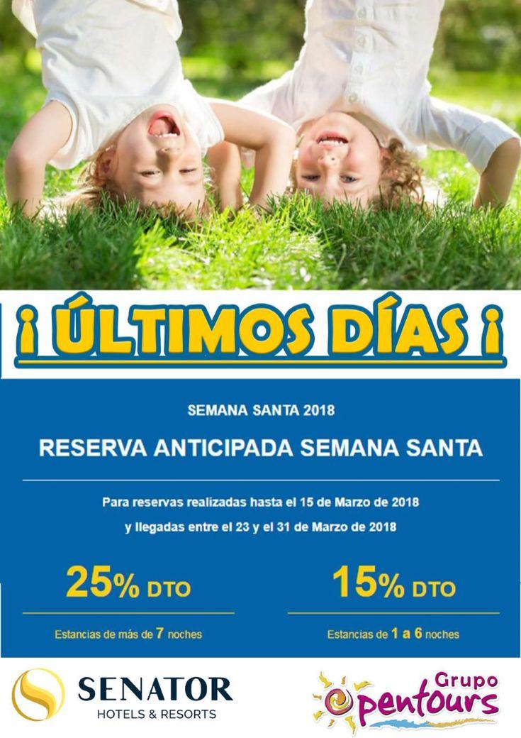 | GRUPO OPENTOURS | . SENATOR - PLAYA HOTELES ---- Oferta SEMANA SANTA 2018 ---- Reservas realizadas del 15 de Marzo, para llegadas del 23 al 31 de Marzo ---- Resto condiciones de esta oferta en www.opentours.es ---- Información y Reservas en tu - Agencia de Viajes Minorista - ---- #hotelesplaya #senator #ofertas2018 #ofertas #escapadas #paquetes #semanasanta #semanasanta2018  #hotelenhuelva #hotelencadiz #hotelenmalaga #hotelengranada #hotelenalmeria #huelva #cadiz #malaga #granada #almeria…