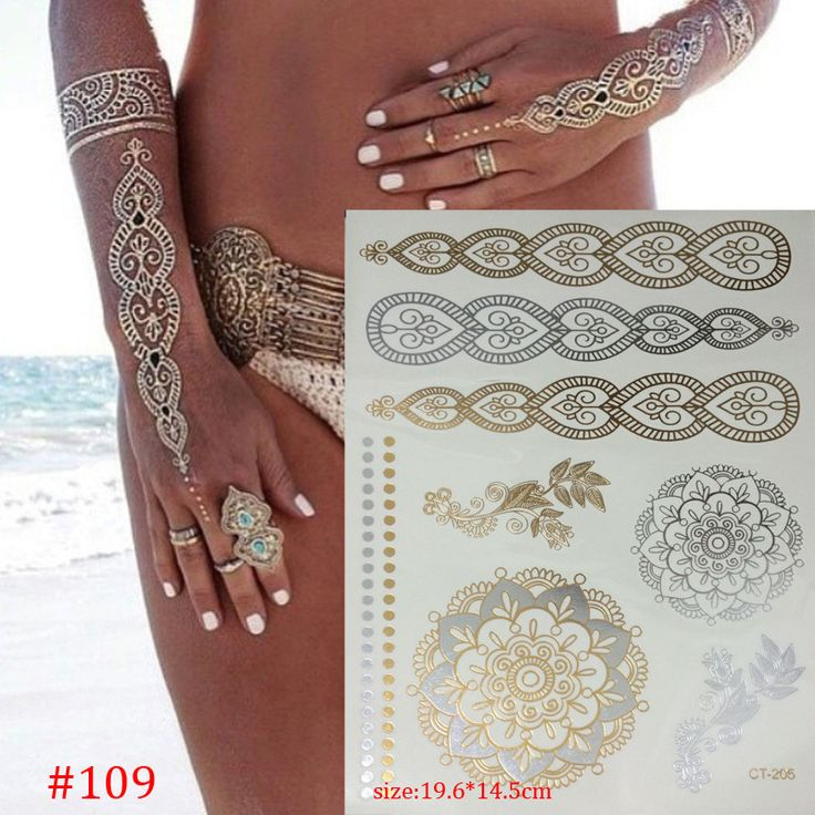 hot temporary tattoo gold tattoo sex products necklace bracelet tatoo metal  women flash metalic gold silver tattoos