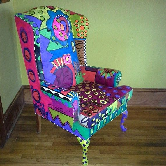 And here's an example of boldly colored wing chair by Monapaints on Etsy, $1200.00