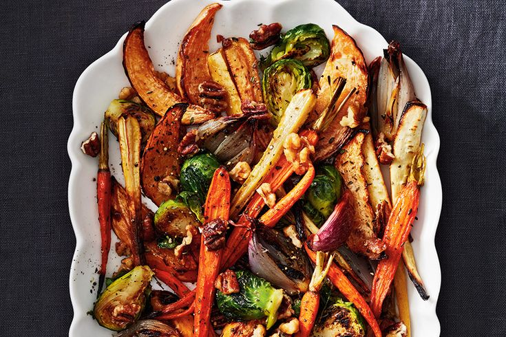 Roasted Winter Vegetables with Maple Candied Nuts
