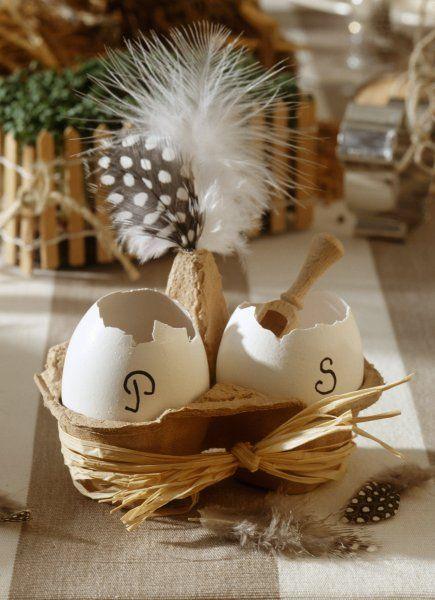 Salt and pepper eggs for Easter