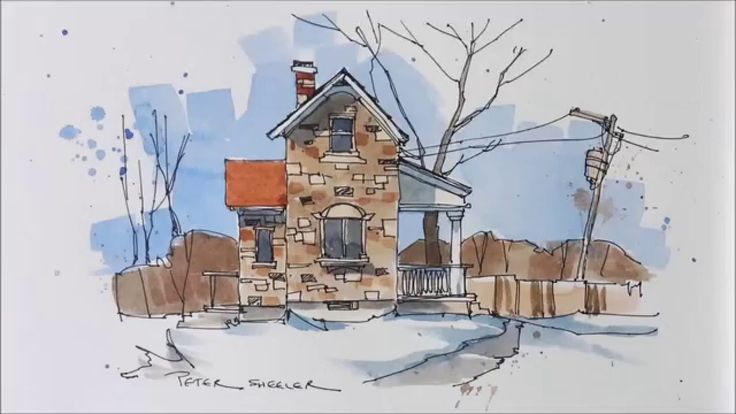 Line and wash demonstration of a Stone Farmhouse watercolor. Easy to fol...