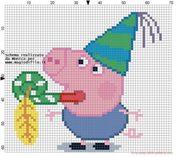 Schema punto croce George Pig alla festa (click to view)