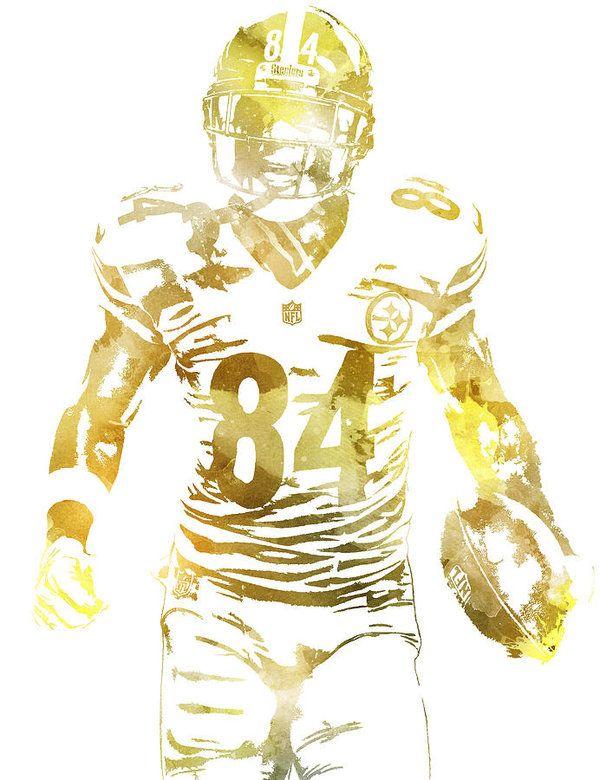 Antonio Brown Pittsburgh Steelers Water Color Pixel Art 1 Art