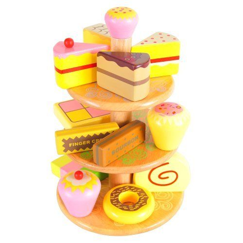 Bigjigs Toys Wooden Play Food Cake Stand With 12 Cakes