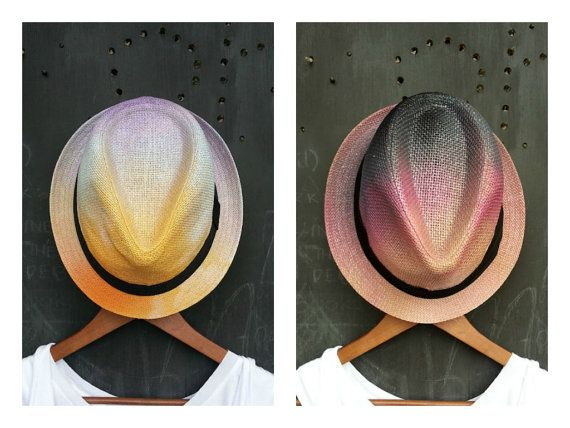 Sunrise to Sunset  Ombre Fedora Pair Combo by FeatherheadOnEtsy, $110.00