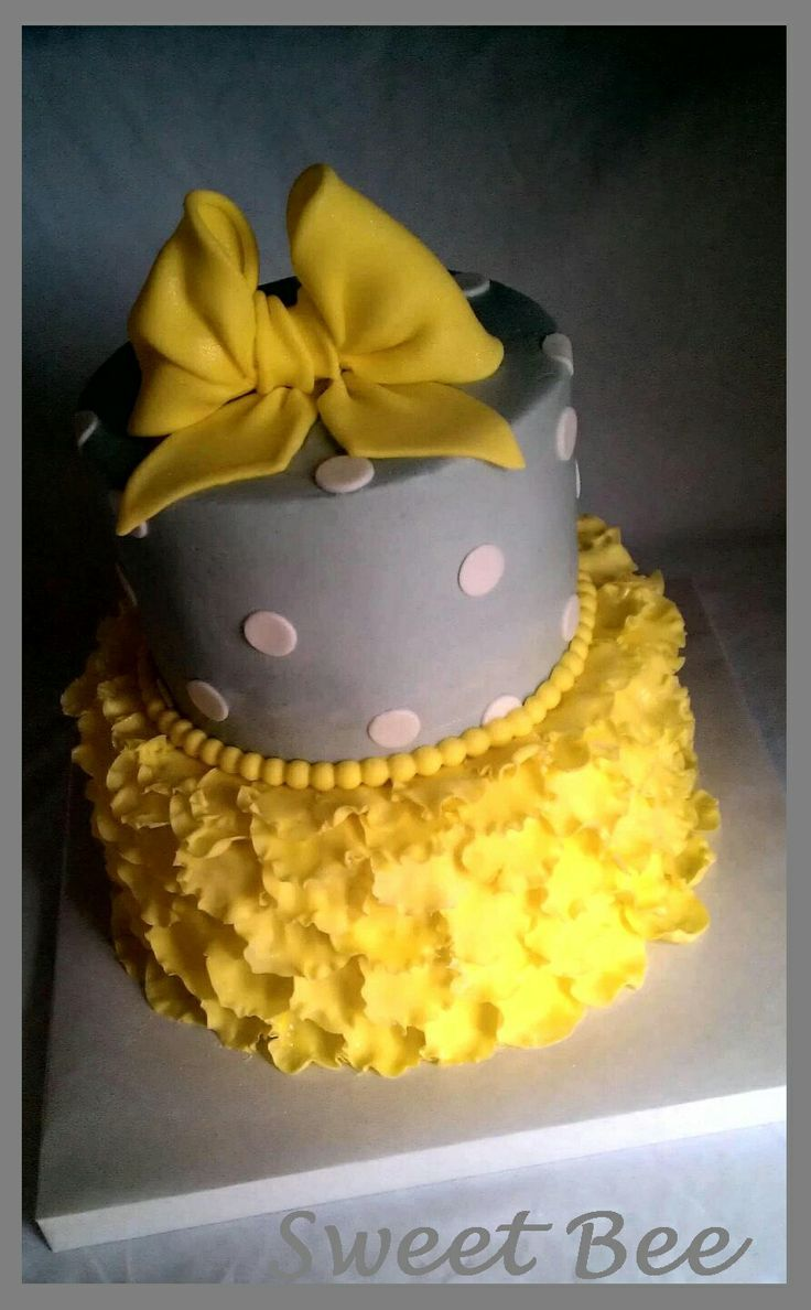 Yellow and Gray - bow and polka dots.