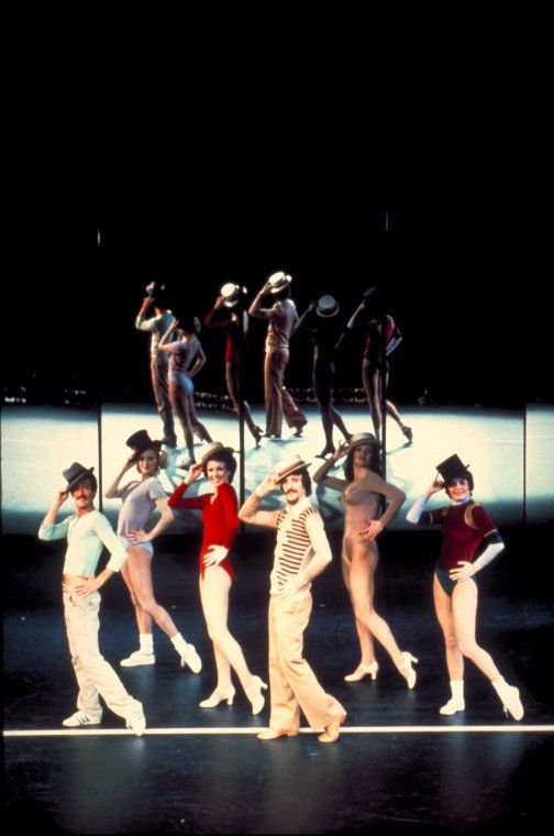 """(R-L) Sammy Williams, Pamela Blair, Donna McKechnie, Robert Lupone, Kelly Bishop and Priscilla Lopez in a scene from the 1975 Broadway musical """"A CHORUS LINE."""" (Martha Swope Photographs)"""