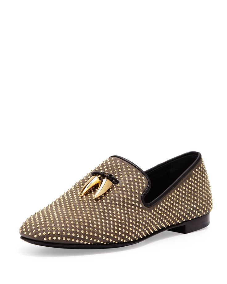 Giuseppe Zanotti Mens Studded Toggle Slipper in Gold for Men