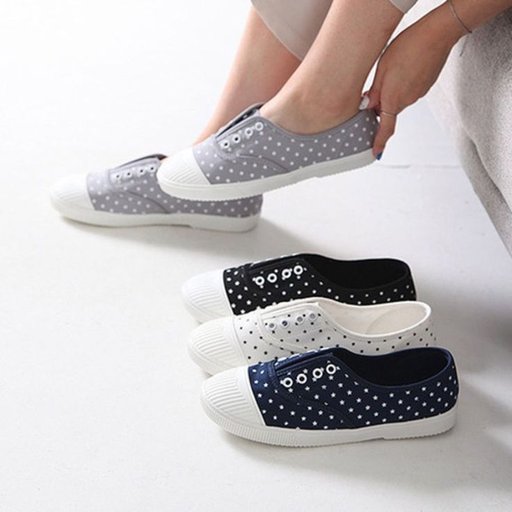 Made In Korea Women's Easy Canvas OZ Shoes Star Dot fabric Casual Sneakers #DreamTree #LoafersMoccasins #Casual