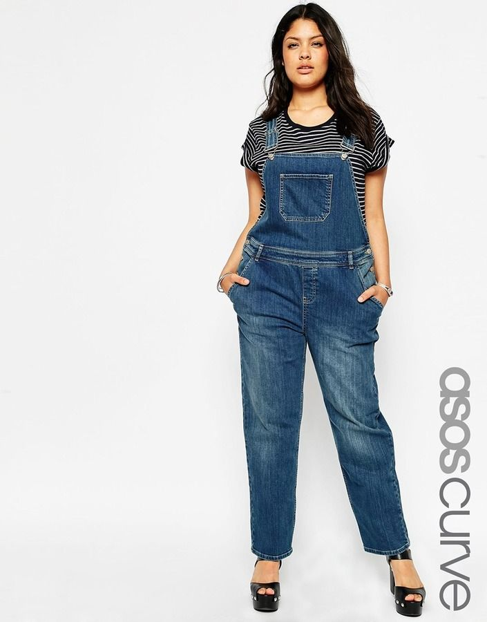 asos curve full length overall in mid wash plus size plus size jumpsuits rompers. Black Bedroom Furniture Sets. Home Design Ideas
