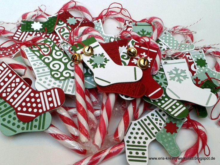 """#Zuckerstangen Zauber mit """"Weihnachtsstrümpfen"""" - kleine #Goodies   http://eris-kreativwerkstatt.blogspot.de/2016/12/zuckerstangen-zauber-mit.html  #stampinup #teamstampingart #weihnachten #xmas #christmas #giveaways #geschenke"""