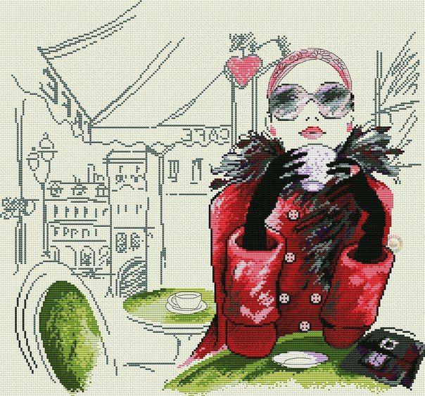 Bella mujer tomando cafe en París a punto de cruz - PatronesMil