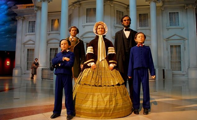The Plaza at the Abraham Lincoln Presidential Library & Museum includes figures of Lincoln and his family and a recreation of the south portico of the White House. (From: Photos: Your Picks for 15 Places Every Kid Should See)