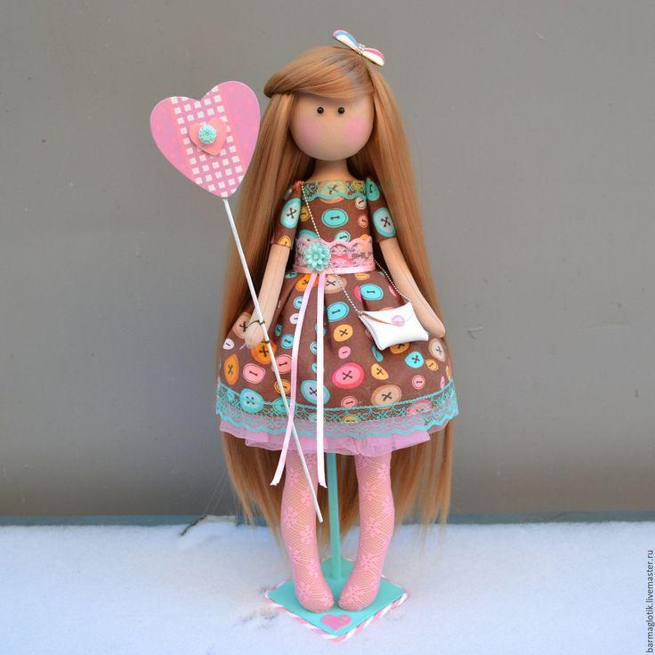 Купить Интерьерная куколка Пуговка - розовый, бирюзовый, коричневый, цвета радуги, яркий, яркий аксессуар