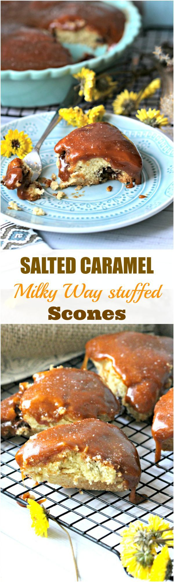 Salted Caramel Scones with Mini Milky Way Chocolates - Peas and Peonies