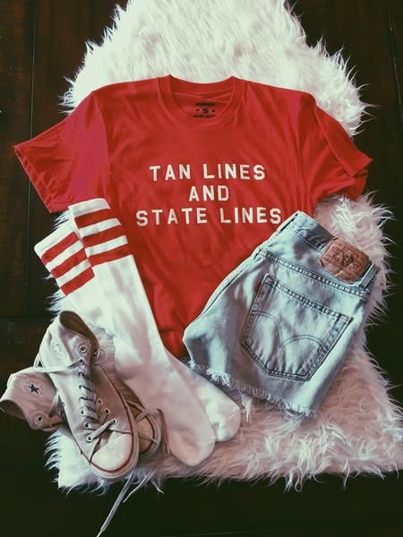 Tan Lines and State Lines Tee Available in Red Sizes S, M, L 50% Polyester/ 50% Cotton Made and Printed in small batches in the USA