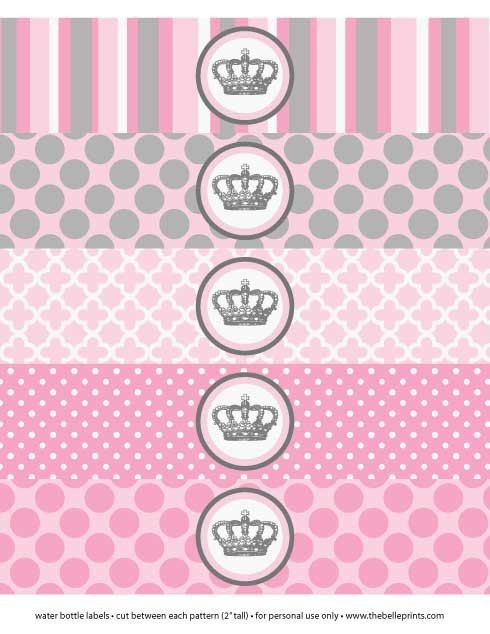Baby Shower or Birthday Party Little Pincess Crown - Print Water Bottle Labels Wrap