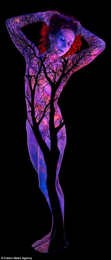Painter John Poppleton uses ultra-violet lights to create stunning landscapes | Daily Mail Online