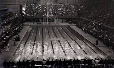1948 Olympic swimming pool, London. The swimming was held in the 1934 Empire Pool, no new buildings were constructed for the 1948 games after WW2.