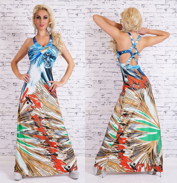 Backless Jungle Maxi Dress in blue1