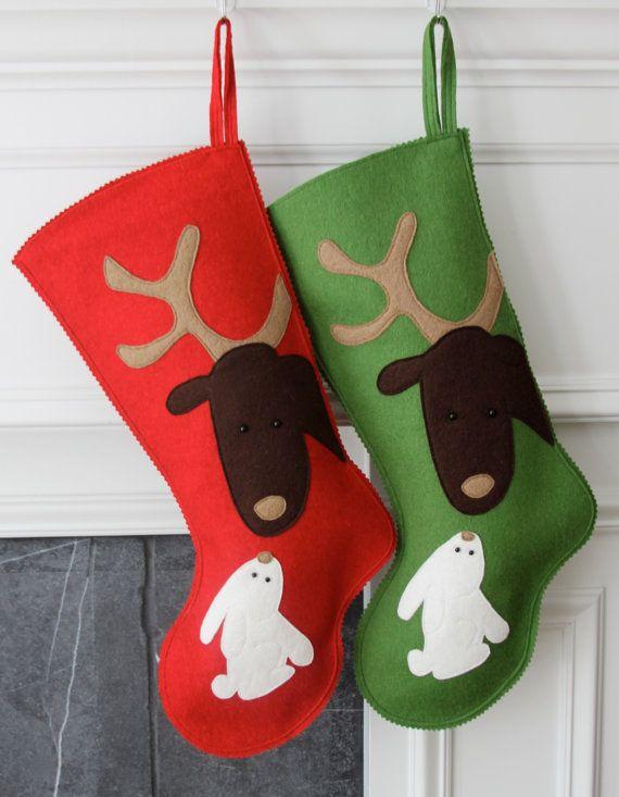 Media de la Navidad fieltro de lana hecho a mano: por MyPerennial